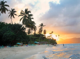 La Playta at sunset, tropical beautiful beach in Samana area, Dominican Republic.