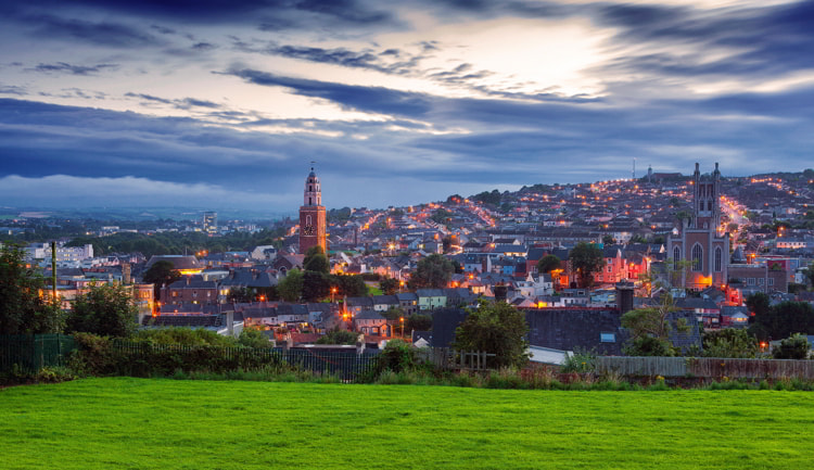 Cork City view from St. Patrick's Hill.