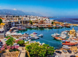 Kyrenia marina seen from the overlooking hill in Northern Cyprus