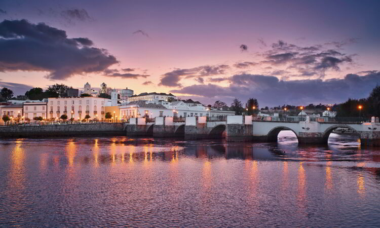 Tavira town in Portugal at the sunset time.