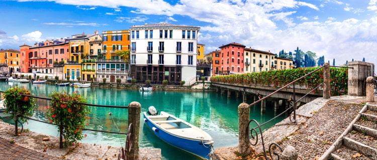 Charming village with colorful houses in beautiful lake Lago di Garda, Verona, Italy.