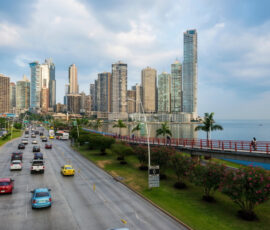 View of the financial district and sea in Panama City, Panama.
