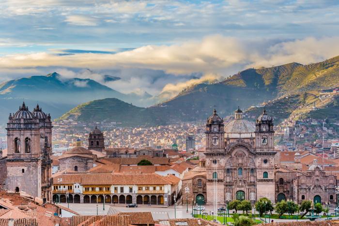 Morning sun rising at Plaza de armas, Cusco, Peru
