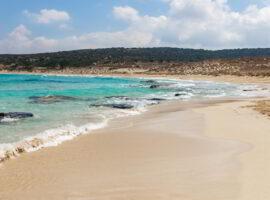 A beautiful empty blue water,white sand beach in Karpasia region, Cyprus