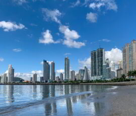 Ocean Promenade and skyline background in Panama City.