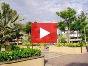 A park in David Panama, with a red play button