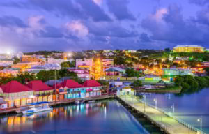 Colorful houses and shops along the port of St. Johns
