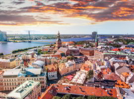 Panorama view from Riga cathedral on old town of Riga, Latvia