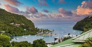 Boats in Marigot Bay in St. Lucia