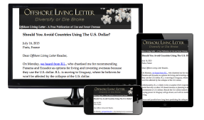 Offshore Living Letter on desktop, ipad, and phone.
